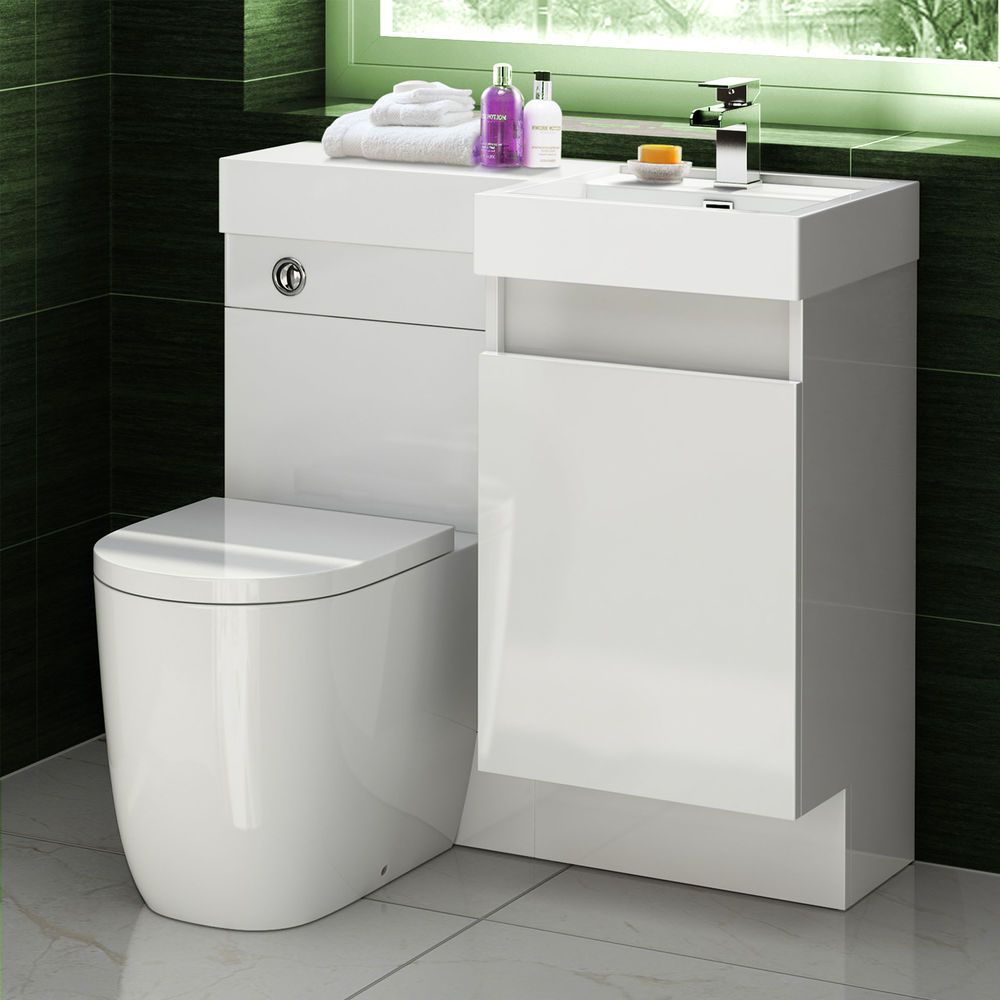 Basin Toilet Vanity Unit Combination Oval Bathroom Suite Sink Wc 906 X 880mm Shower Ensuite