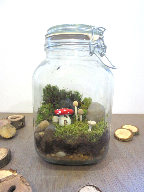 A Faerie Gathering...Fairy Garden Terrarium Mushroom By