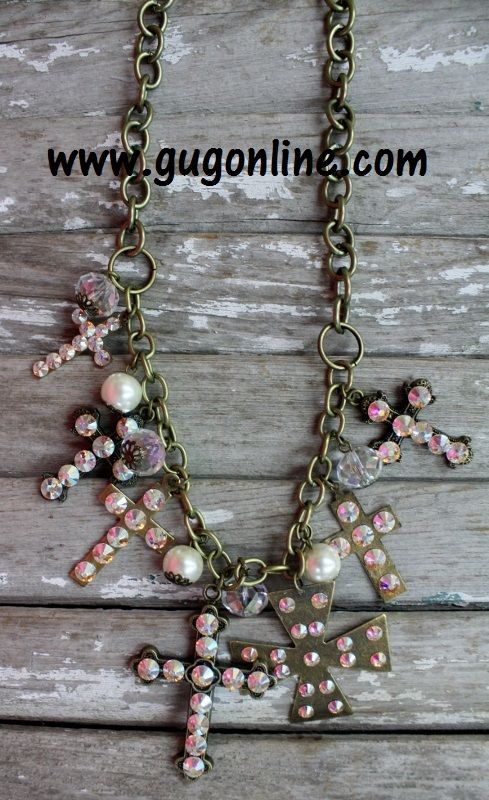 Want 10% off your entire order at www.gugonline.com Use GUGREPBRITT at checkout!!  AB Crystals on Gold Cross Dangle Necklace