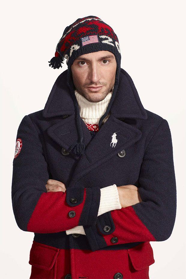 Caban et bonnet de la team usa pour les J.O de Sotchi portés par Evan  Lysacek