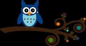 Blue Owl On Branch Clip Art