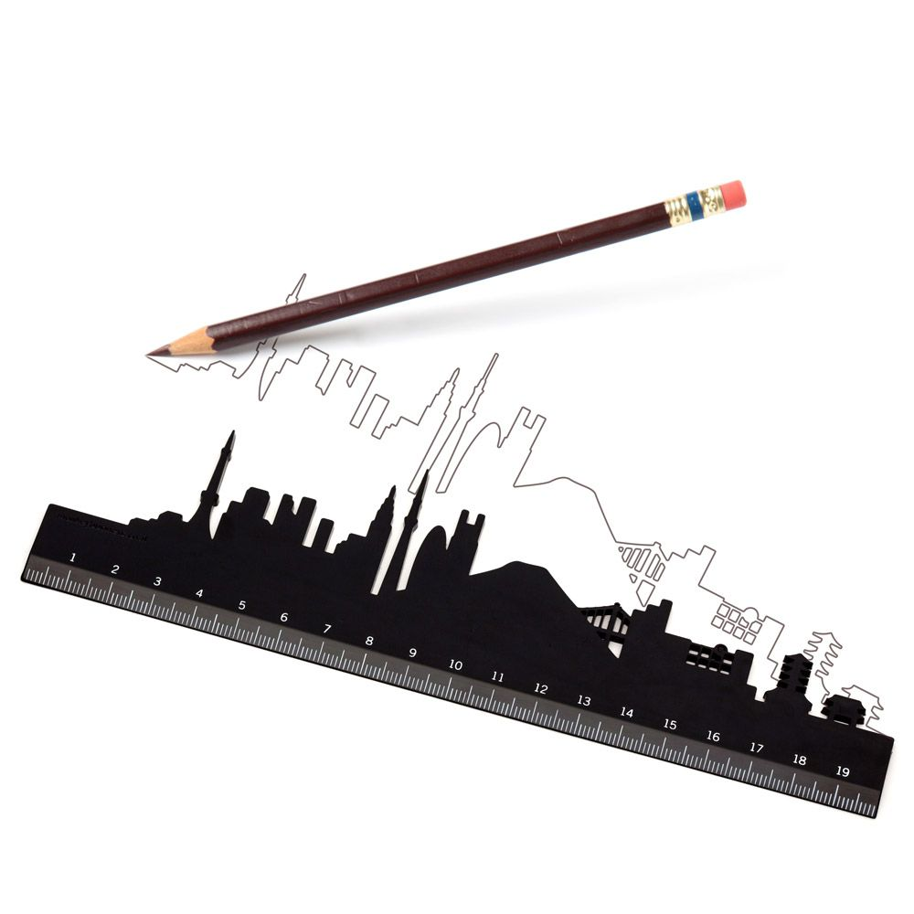 monkey business black city shaped ruler