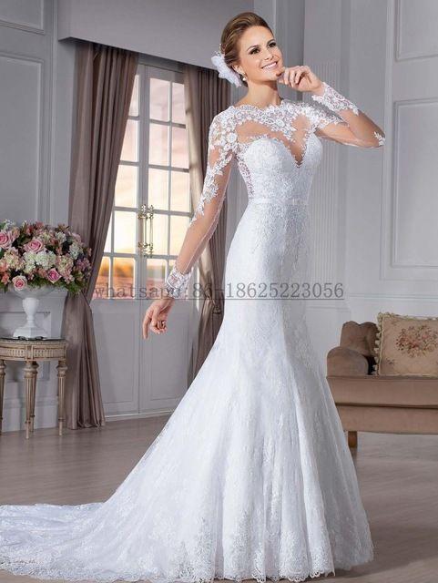 869fbe4c5 Vestido de noiva sereia Ver Através Voltar Sereia Vestidos de Casamento  Sexy Vestido De Noiva Manga Longa 2015 Vestido de Noiva de Renda
