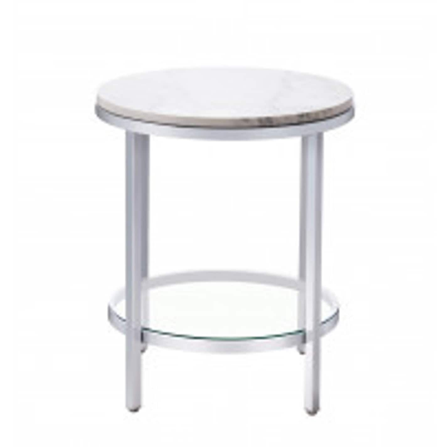 Bassett Mirror pany Jadyn RD Silver Steel Marble End Table