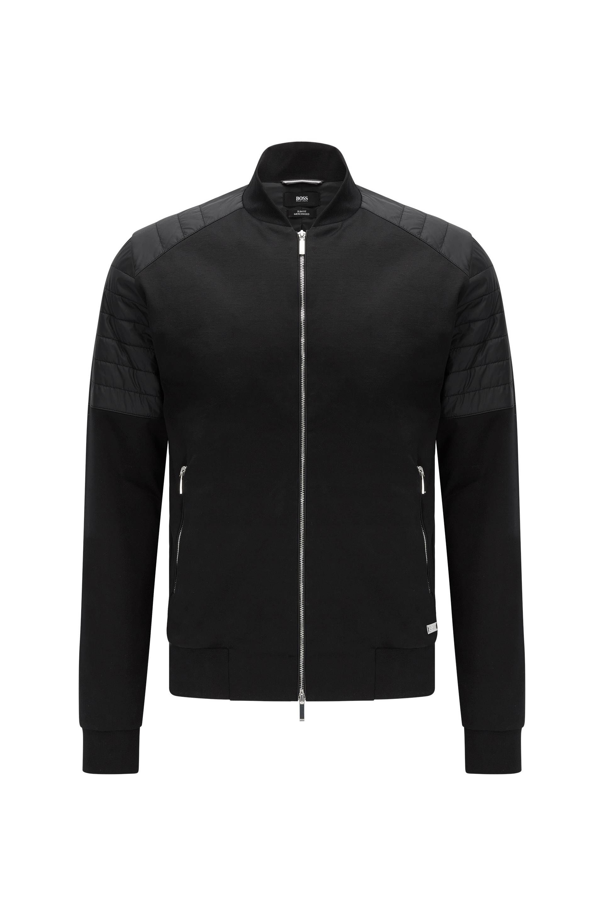 8dde66be Slim-fit sweatshirt jacket in mercerised stretch cotton: 'Salea 07' from  the Mercedes-Benz Collection