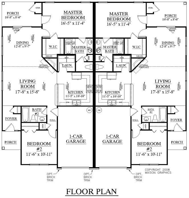 Duplex Plan 1196 Floor Plan House Plans Pinterest