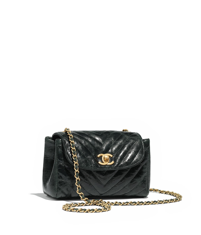 Aged Lambskin   Gold-Tone Metal Black Flap Bag  23528abd9ee94