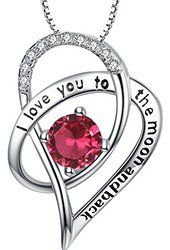 """Sterling Silver /""""I Love You To The Moon and Back/"""" Heart Pendant Necklace Purple"""