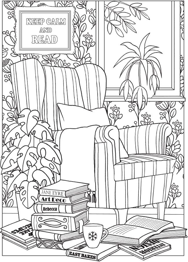 Reading tea free printable coloring page Dover ...