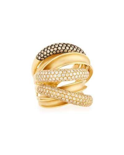 Bessa 18K Rose Gold Three-Row Ring with Diamonds fsmooL9