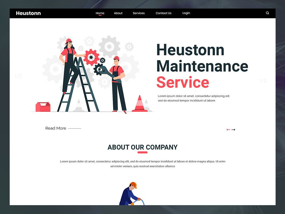 Heustonn maintenance website psd template with images