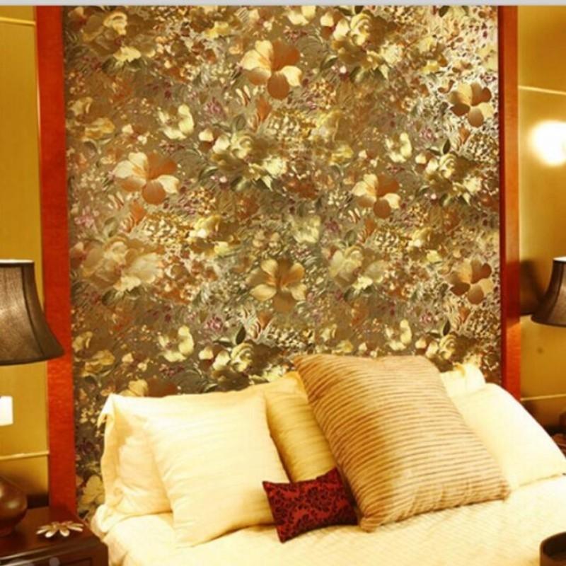Cutting Machine Suppliers Wall Paper Modern Embossed Foil Gold Metallic Reflective Wallpaper Bedroom Living Room TV Background Flower Garden