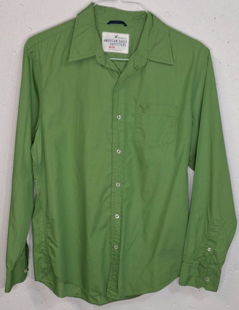 056b9999f6 American Eagle Vintage Fit Mens Green Cotton Long Sleeve Button Down Shirt  M #AmericanEagleOutfitters #ButtonFront