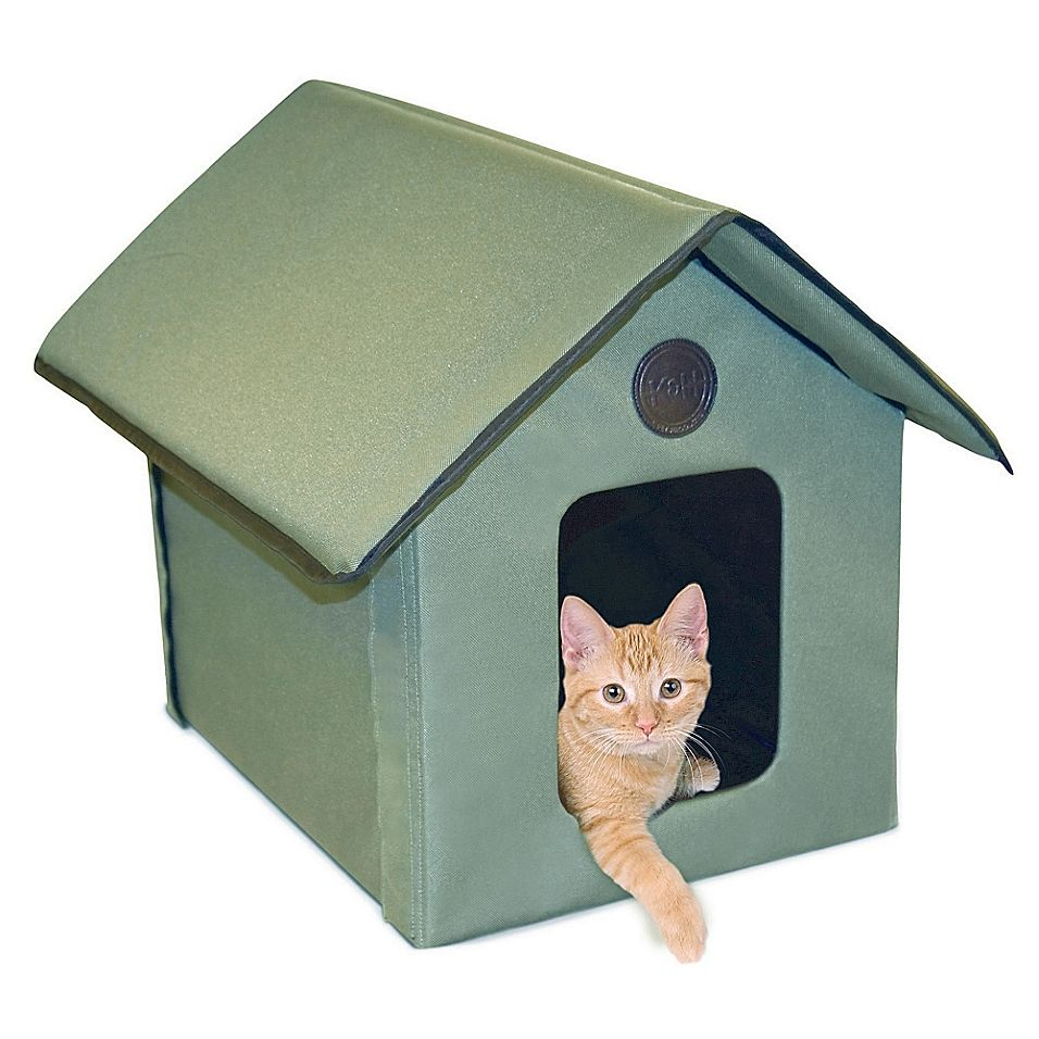 Outdoor Weather Resistant Kitty House In Olive Bed Bath Beyond Heated Cat House Outdoor Cat House Cat Bed
