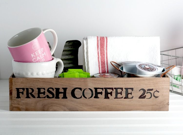 DIY Vintage-Looking Coffee Station Made With Wood Scraps