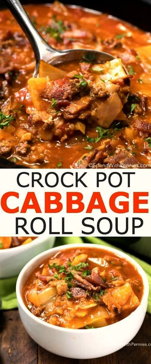 Pot Cabbage Roll Soup with Bacon - Spend With Pennies -Crock Pot Cabbage Roll Soup with Bacon -