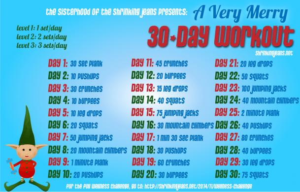 A Very Merry 30-Day Workout Calendar #fitness #workout @shrinkingjeans #shedplans