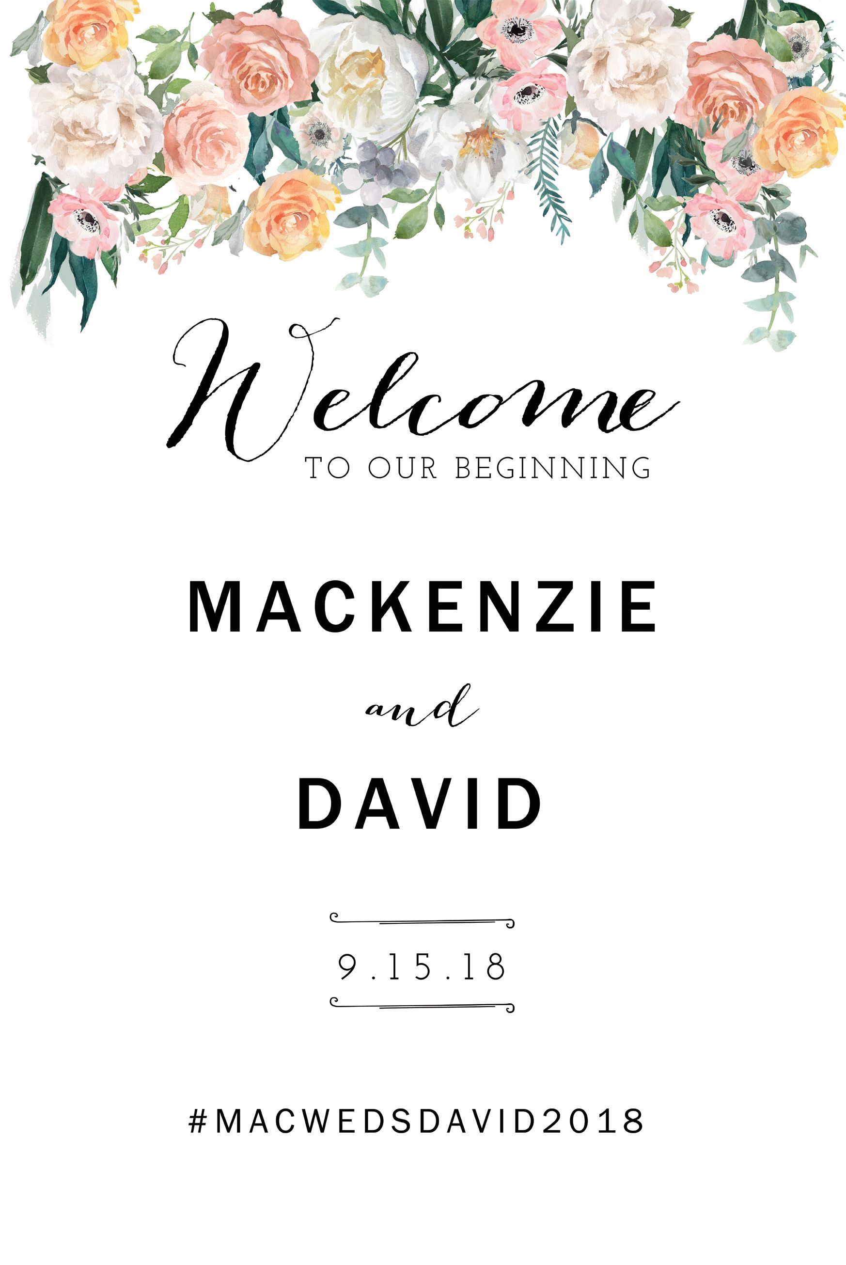 Wedding Welcome Sign Template Printable Diy Vertical Photo