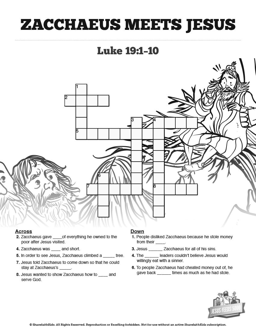 luke 19 story of zacchaeus sunday school crossword puzzles featuring questions drawn from luke. Black Bedroom Furniture Sets. Home Design Ideas