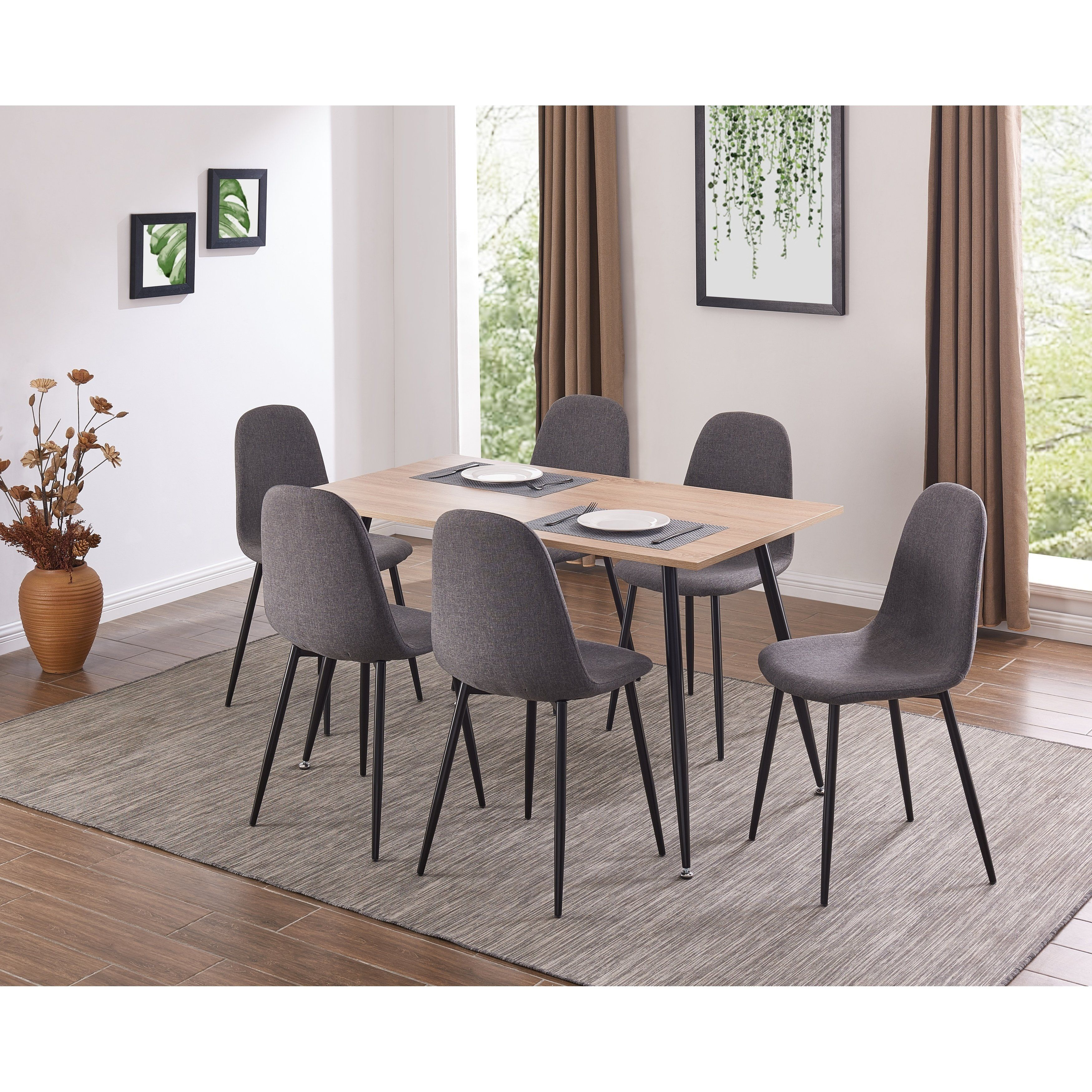 Ids Simplistic Style Mdf Dining Table And Heavy Duty Metal