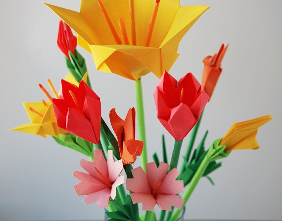 Bouquet Of 10 Wild Flowers By Lusine On Etsy 32 00 Paper Flowers Balloon Flowers Wild Flowers