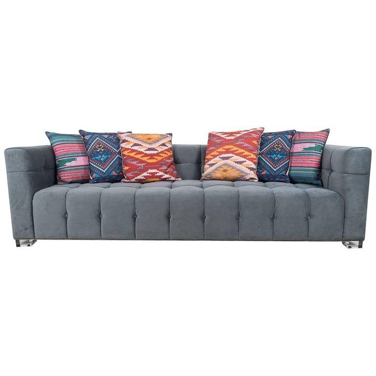 Modshop Sofa - Style Charcoal Biscuit Tufting Block Legs ...