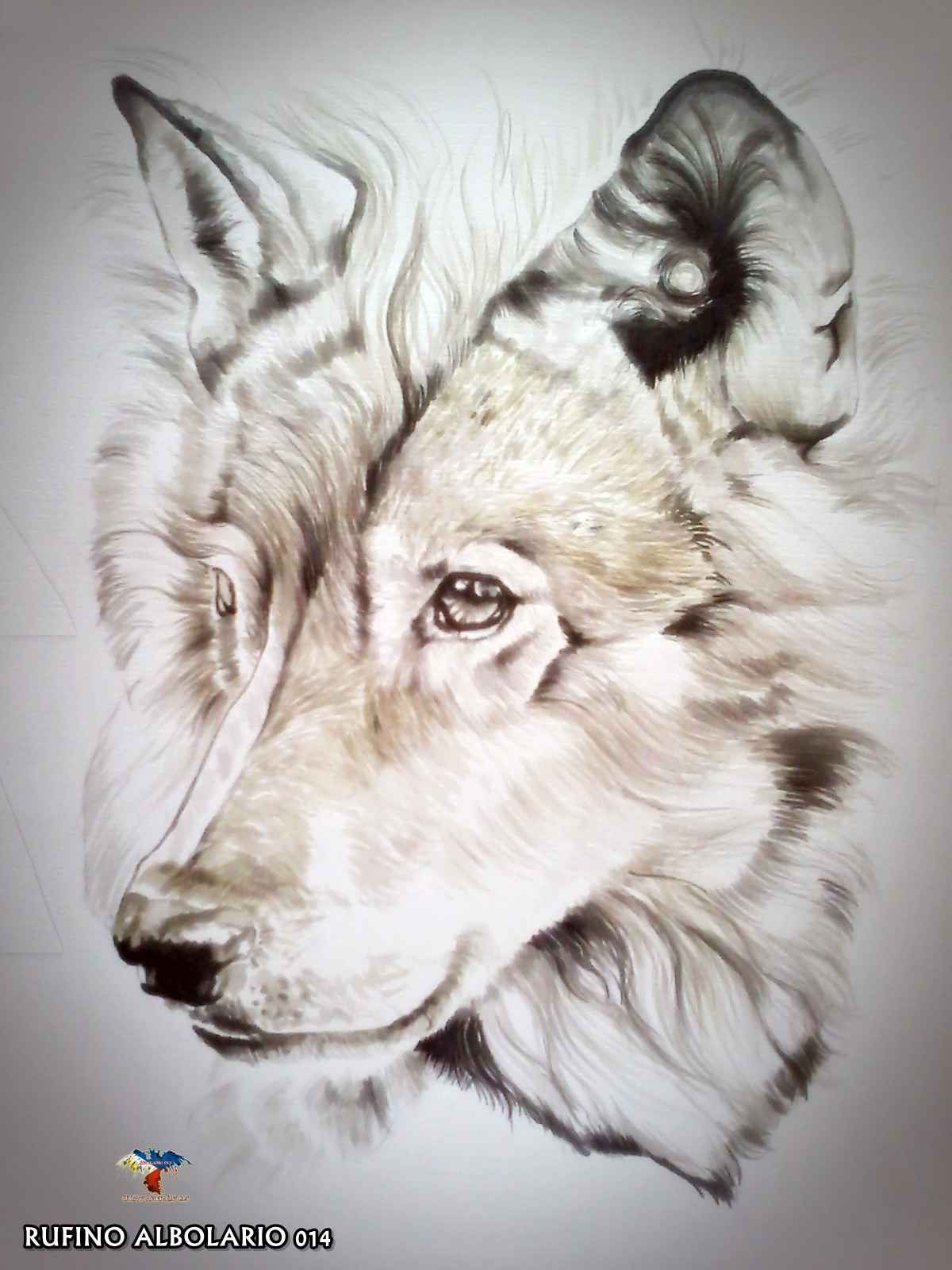 Water Color Wolf Portrait Airbrush En Dieren