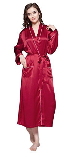 eb9ee00746 LILYSILK Women s 100 Pure Silk Dressing Gown Ladies Long Robe Kimono With  Contra Trim 22 Momme Mulberry Silk Material 100% Silk of 22 Momme Silk  Weight.