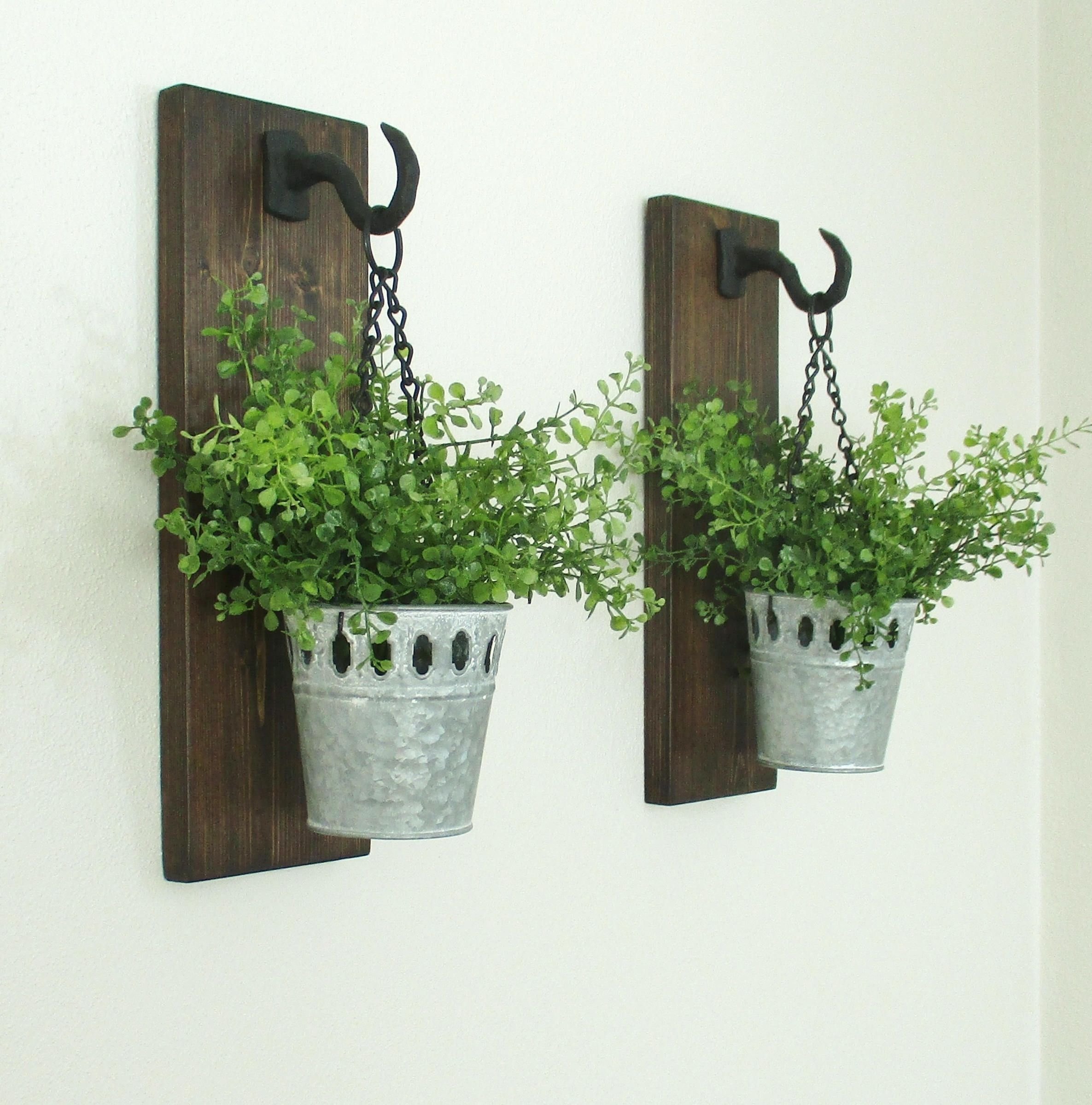 Industrial Farmhouse Wall DecorHanging Galvanized Metal BucketsRustic Sconces