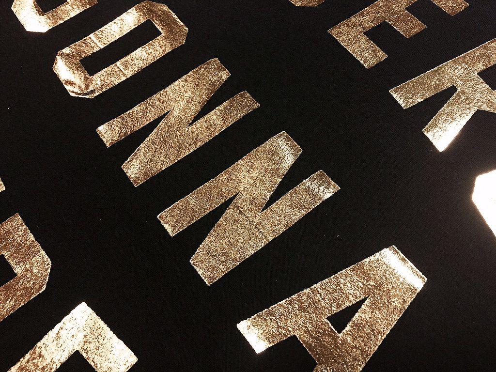 Gold Foil On Black Close Up Heat Transfers Gold Foil Print