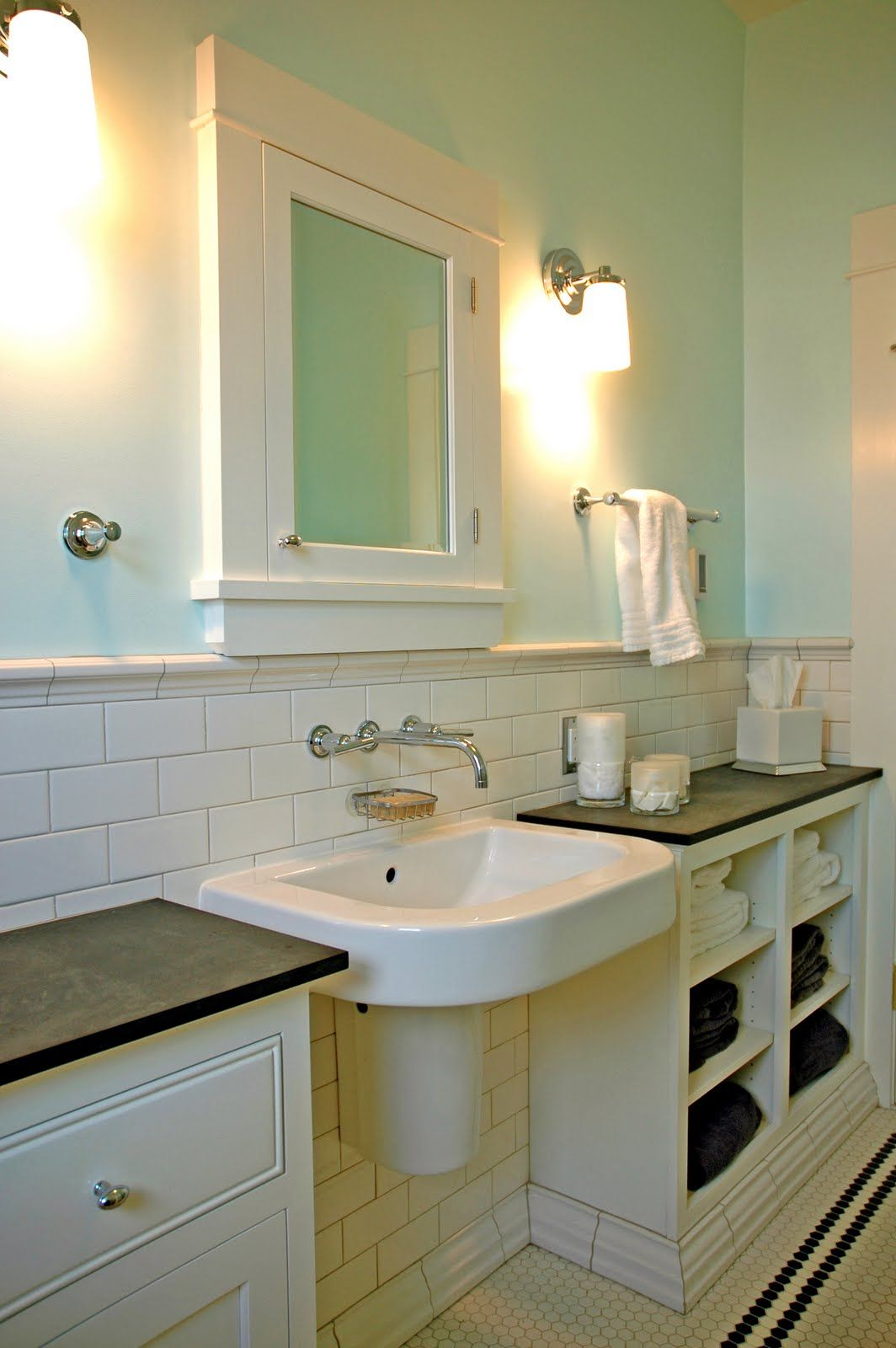 Don T Like Their Sink But I Do Like The Built In Cabinets On Either Side For Storage Small Bathroom Sink Cabinet Craftsman Bathroom Small Bathroom Sinks