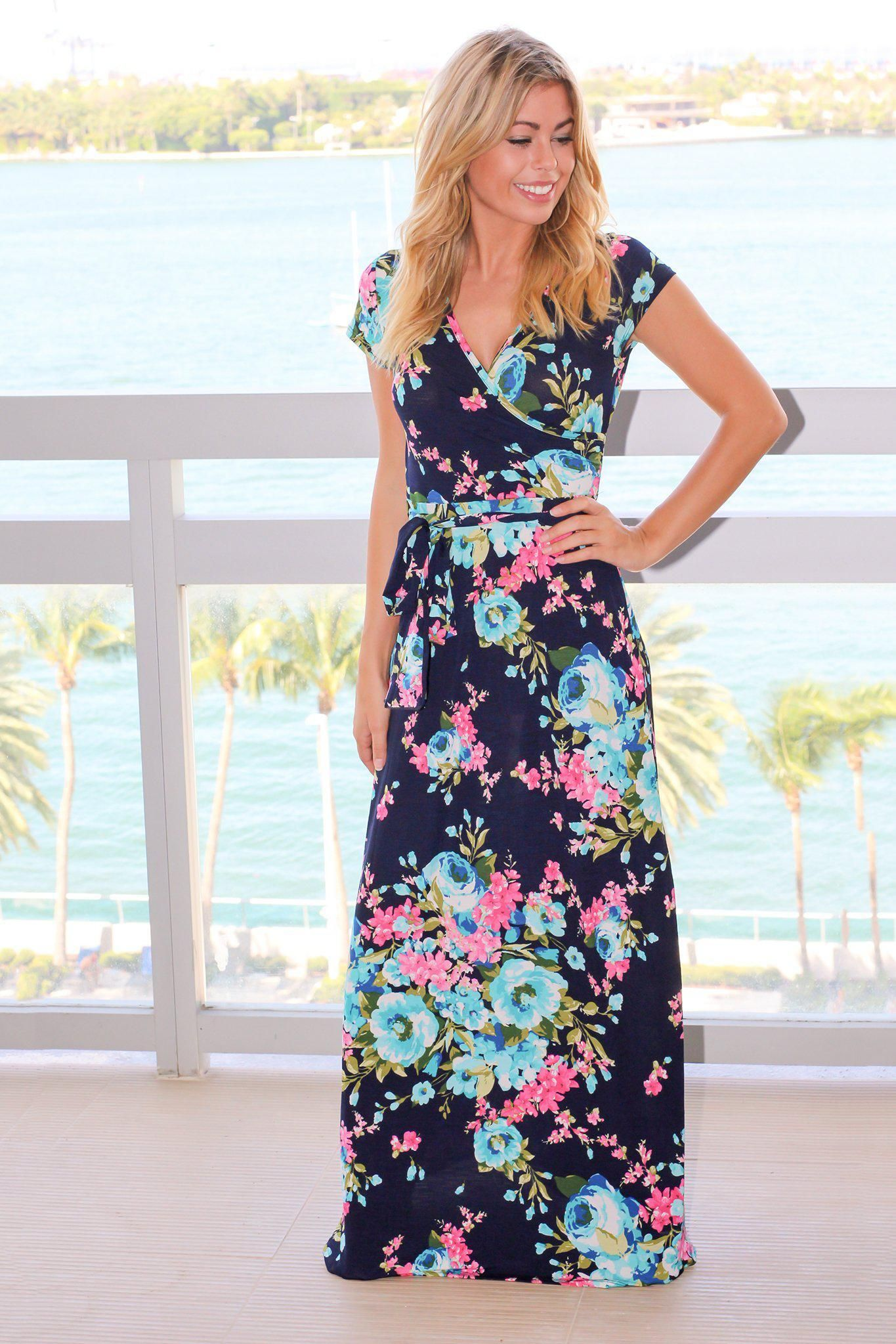 Navy and pink floral maxi dress in wardrobe ambitions