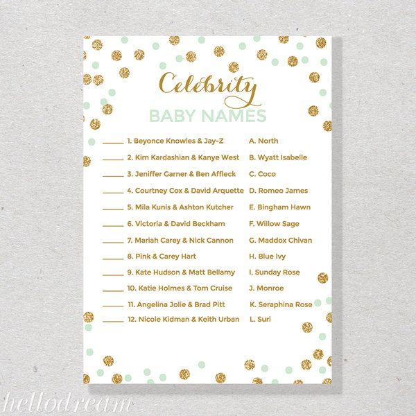 photo about Celebrity Baby Name Game Printable known as Youngster Shower Movie star Little one Popularity Video game - Child Shower Invites