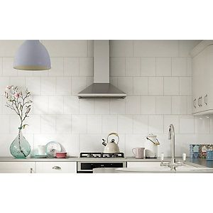 Wickes Bevelled Edge White Gloss Ceramic Wall Tile 300 X 200mm Wickes Co Uk Kitchen Wall Tiles Ceramic Wall Tiles White Kitchen Tiles
