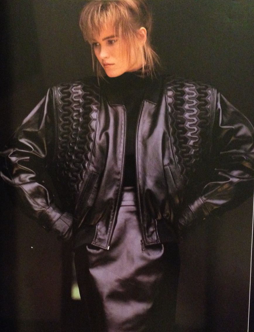 Jean Claude Jitrois 1987 Baggy Black Leather Jacket And Pencil
