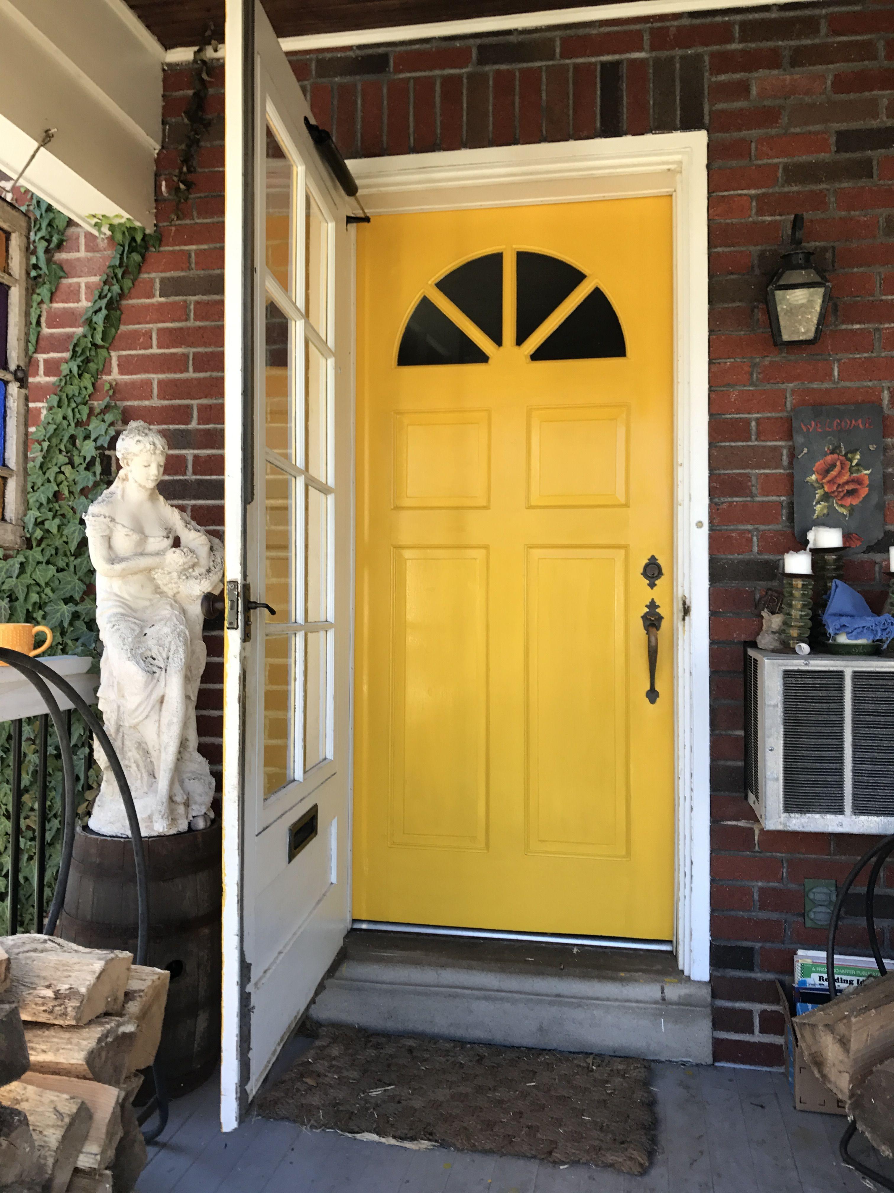 Yellow Door With Red Brick Painted Front Doors Yellow
