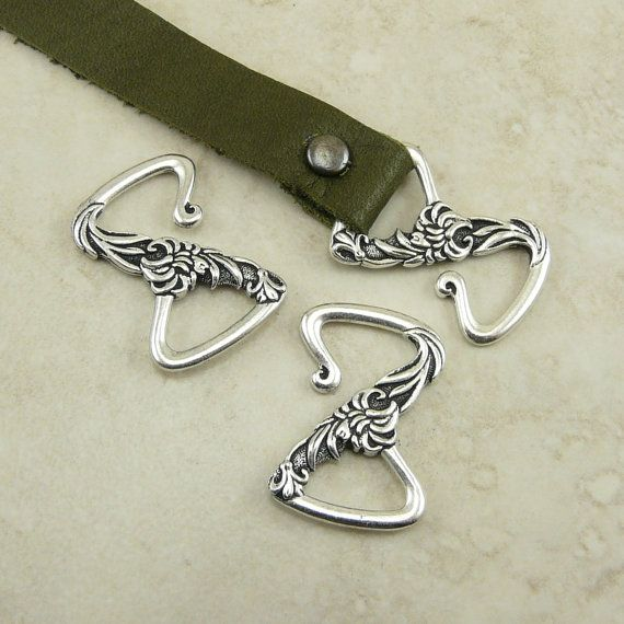 TierraCast Floral Z Hook Leather Clasp - Flower Garden Spring Mothers Day - Fine Silver Plated Lead Free Pewter I ship Internationally 6197