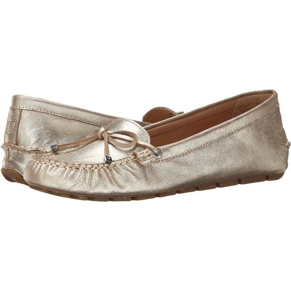Sperry Top-Sider Katharine Women's Flat Shoes, Gold ($38) ❤ liked on Polyvore featuring shoes, flats, gold, gold bow shoes, cushioned shoes, bow flat shoes, slip on flats and flat heel shoes