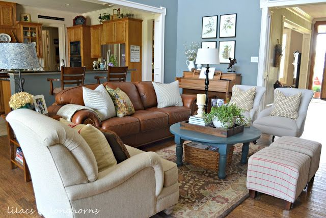 cottage style furniture living room with brown sofa | Traditional Cottage/Farmhouse style home tour | Leather ...