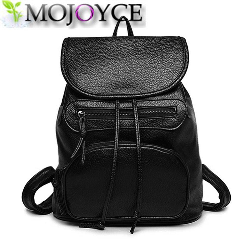 fashion Women Backpack PU Leather Black Shoulder School Bags For ...