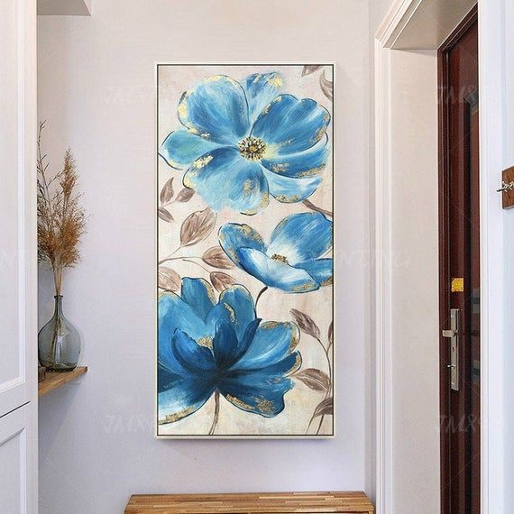 Valentines Original Abstract blue Flower oil Painting On Canvas Extra Large Wall Art pictures Decor For Living Room dining room #blueflowerwallpaper