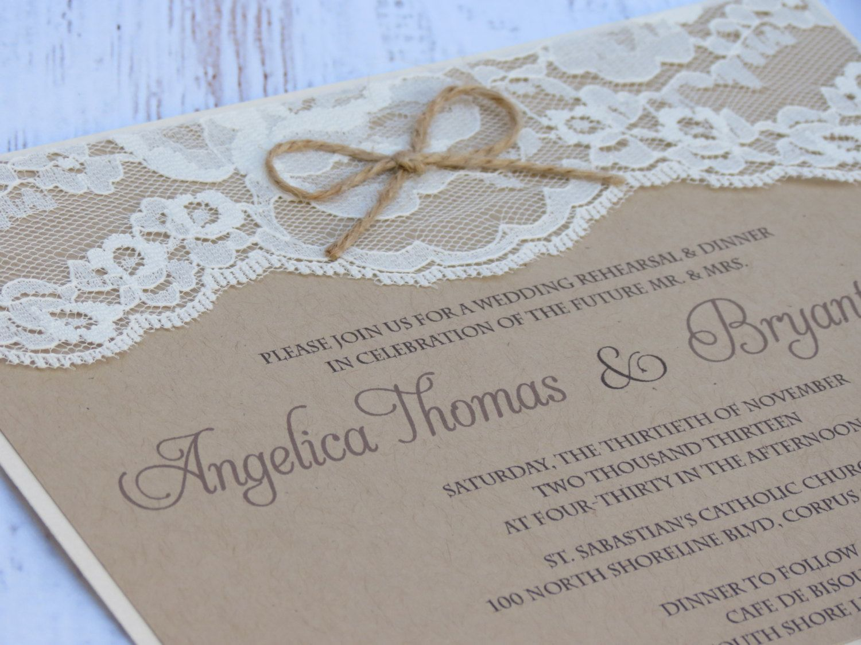 creative bridal shower invitation ideas%0A AMY  Kraft and Lace Wedding Invitation Unique par peachykeenevents
