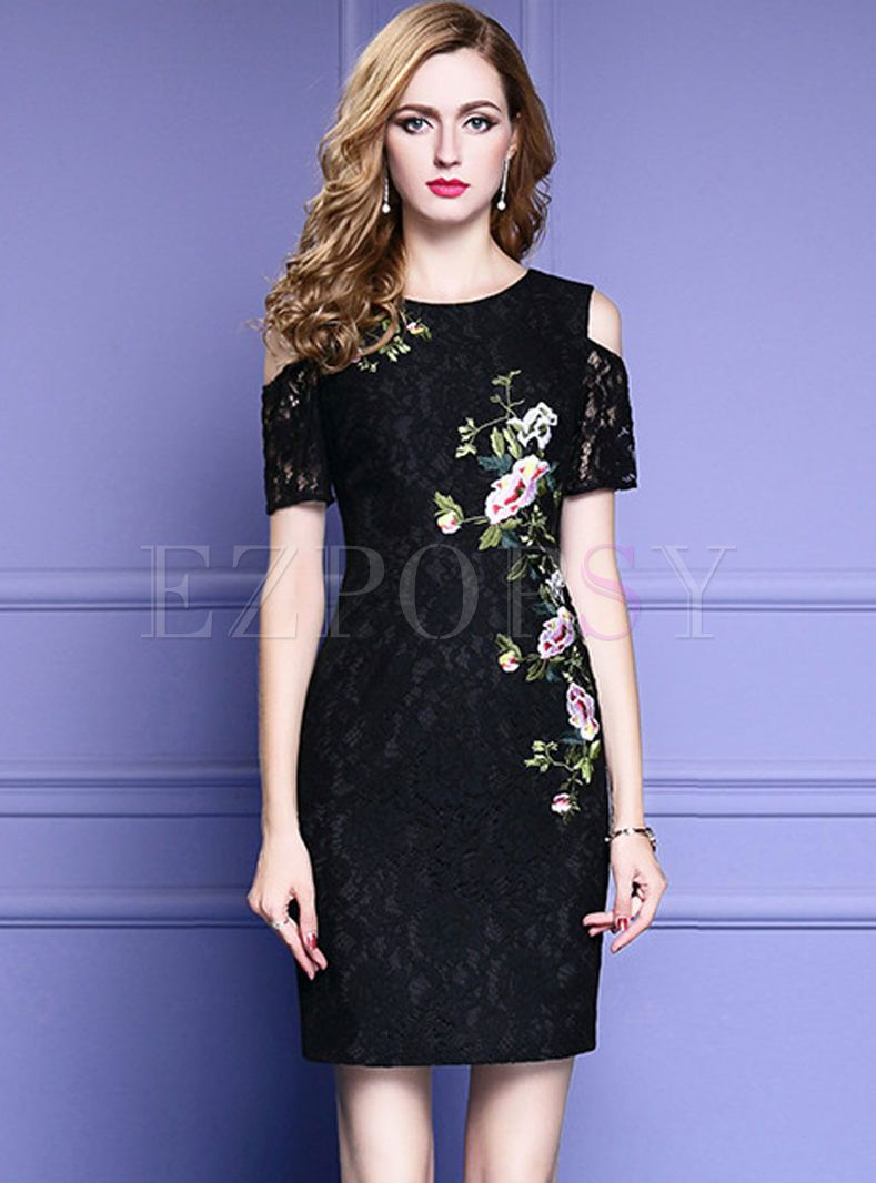 Black Lace Embroidered Off Shoulder Bodycon Dress Black Lace Party Dress Lace Party Dresses Dresses