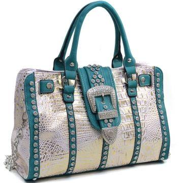Women's Metallic Croco Satchel Bag with Rhinestones and Buckle Accent