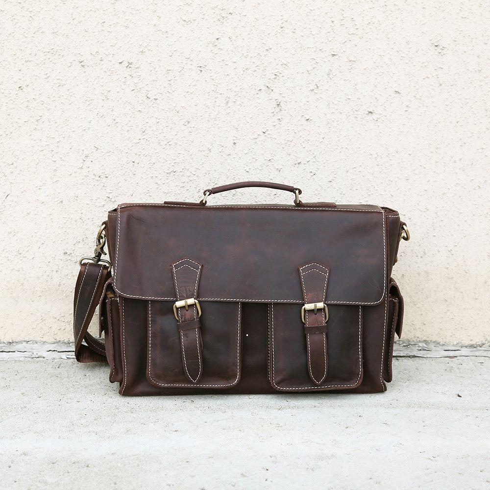 Vintage full grain leather messenger bag men, leather messenger bag, laptop bag, gift for him