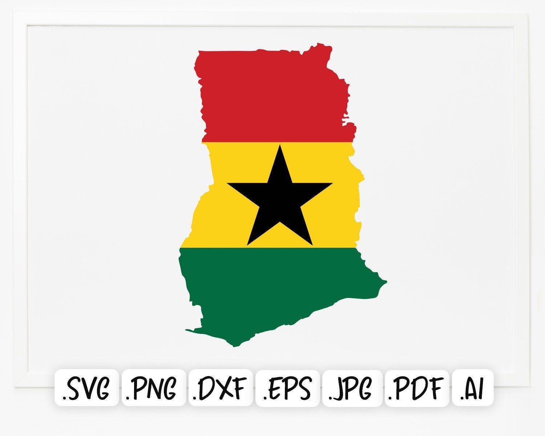 Ghana Flag Map Svg Etsy In 2021 Ghana Flag Svg Flag