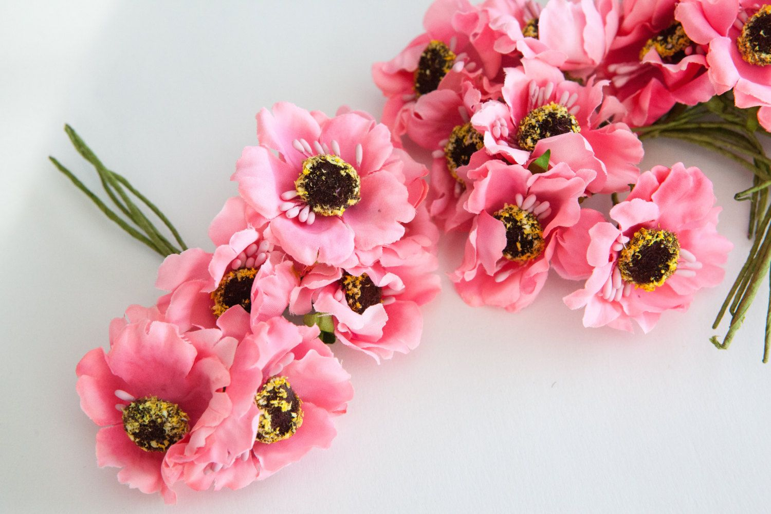 18 Small Pink Flowers On Wire Stems Artificial Flowers Floral