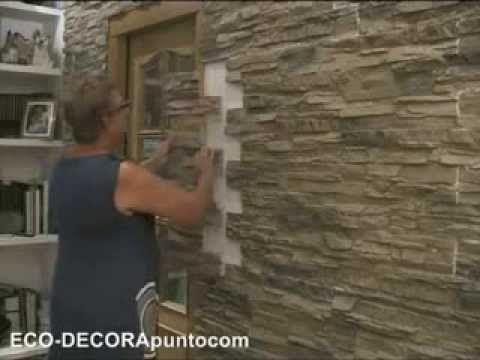 Montaje de paneles imitaci n piedra eco decora en paredes interiores y exteriores videos como - Imitacion piedra pared ...