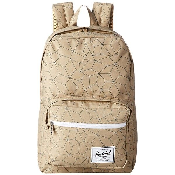 Herschel Supply Co. Pop Quiz (Khaki Sequence/Navy Rubber) Backpack... ($50) ❤ liked on Polyvore featuring bags, backpacks, beige, brown backpack, backpack laptop bag, padded backpack, navy blue backpack and khaki backpack