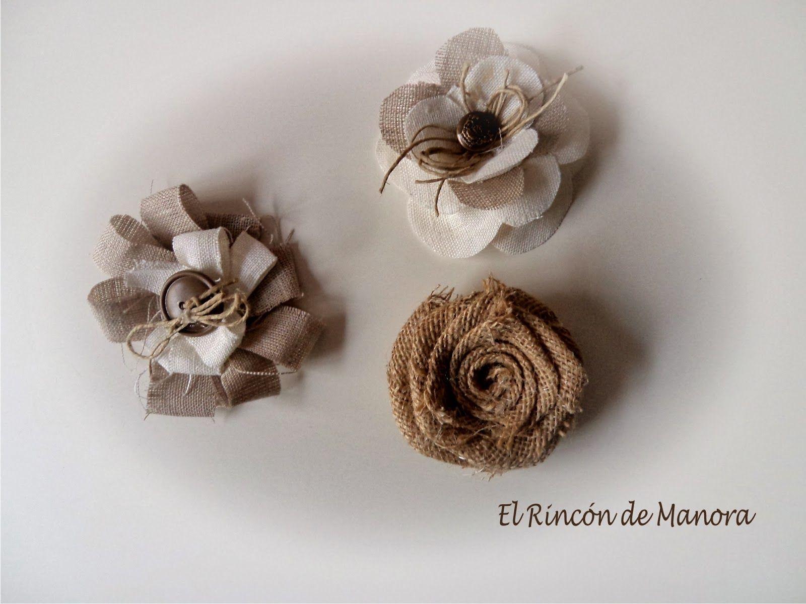 El rinc n de manora flores en tela de saco y lino - Tela de saco ...